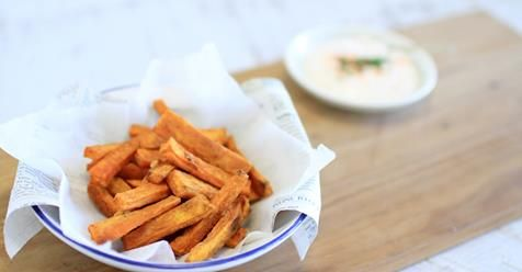 Craving fries? This healthy version is loaded with nutrients and tastes incredible! Get the full recipe here: http://www.foodmatters.com/recipe/our-favorite-snacks-sweet-potato-fries