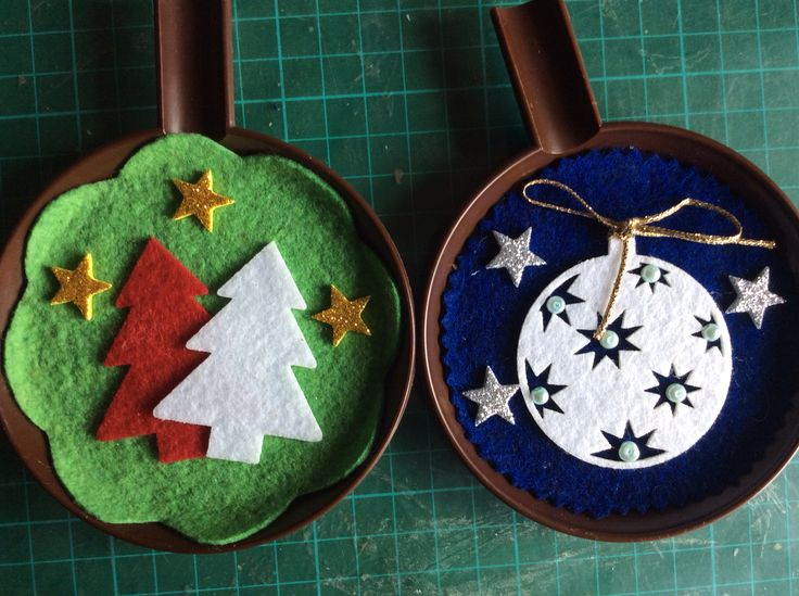 Christmas ornaments on recycled plastic saucers #4