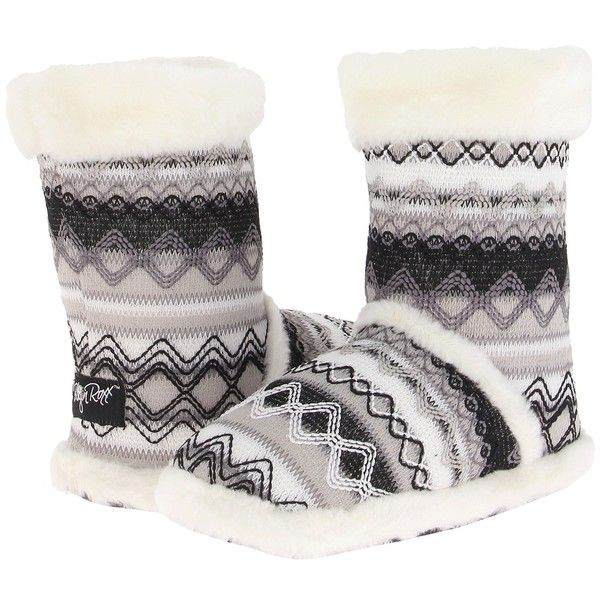 M&F Western Knit Print Bootie Slippers (White) Women's Slippers (32 CAD) ❤ liked on Polyvore featuring shoes, slippers, boots and pajamas