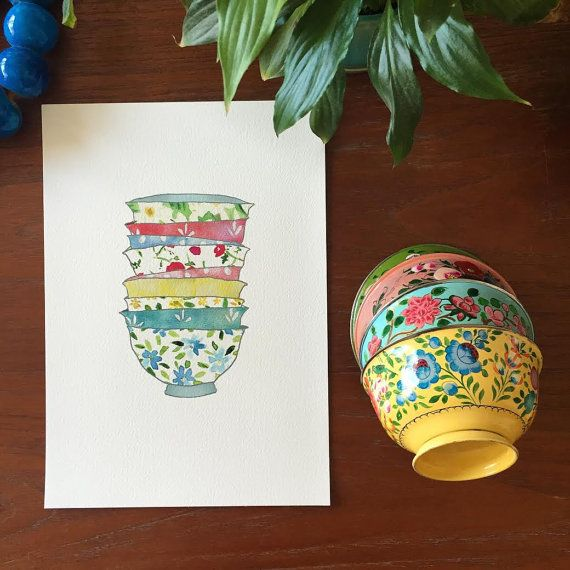 Kitchen art/ bowls art print/ Stack of Bowls art print/ Retro