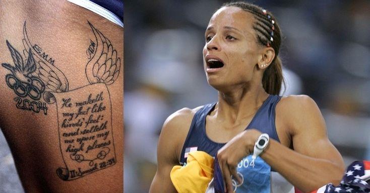Medalhista de ouro nos 100 m com barreiras em Atenas, a norte-americana fez uma tatuagem com o símbolo dos Jogos na parte interna da coxa direita