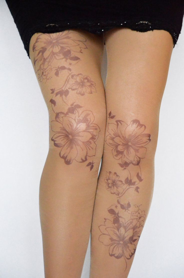 Tattoo Tights With Flowers Print, Handprinted  Womens Pantyhose,Trendy  Tattoo Tights by colinedesign on Etsy https://www.etsy.com/listing/171404959/tattoo-tights-with-flowers-print