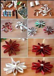 Estrellas y flores con tubos de papel higiénico