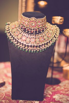 Indian Wedding Jewelry - Meenakari Choker with Similar Necklace with Emeralds, Ruby and Gold | WedMeGood #wedmegood #indianbride #indianjewelry #jewelry #choker #indianwedding