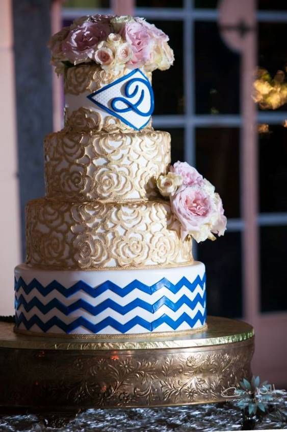navy blue and rose gold wedding cake pin by the cake zone top 3 florida best bakeries on 17760