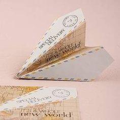 lot de 25 marque-places avion papier