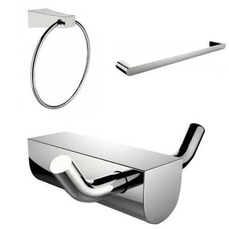 American Imaginations Wall Mounted Modern Towel Ring with Single Rod Towel Rack and Robe Hook
