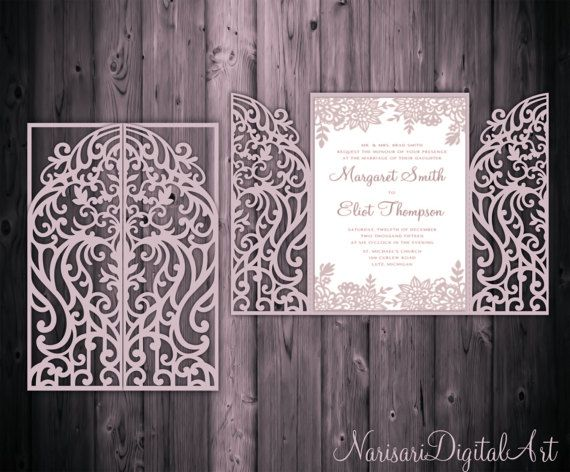 5x7'' Gate Fold Door Wedding Invitation Card Template, Quinceanera, laser cut, SVG DXF CDR cutting file, Silhouette Cameo, Cricut template
