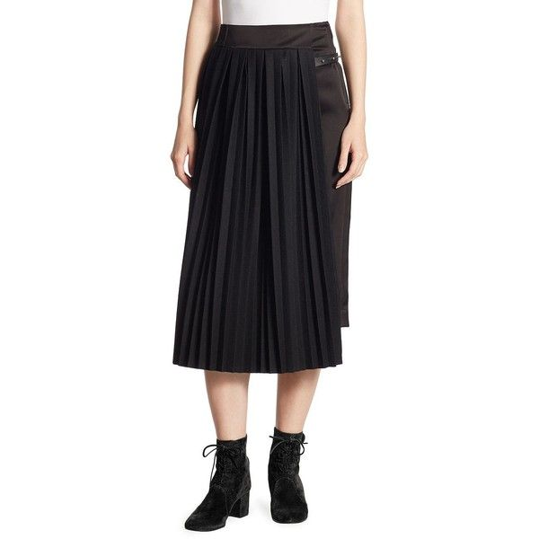 LOEWE Pleated Panel A-Line Skirt (28,905 MXN) ❤ liked on Polyvore featuring skirts, long pleated skirt, panel skirt, long a line skirt, knee length pleated skirt and a line skirt