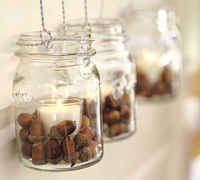 Autumn Décor  just need acorns for my millions of mason jars! #fall #candles #entertaining #classy #country #decorations #decor