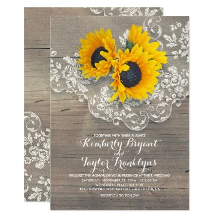 Rustic Sunflowers and Vintage Floral Lace Wedding Card - click to get yours right now!