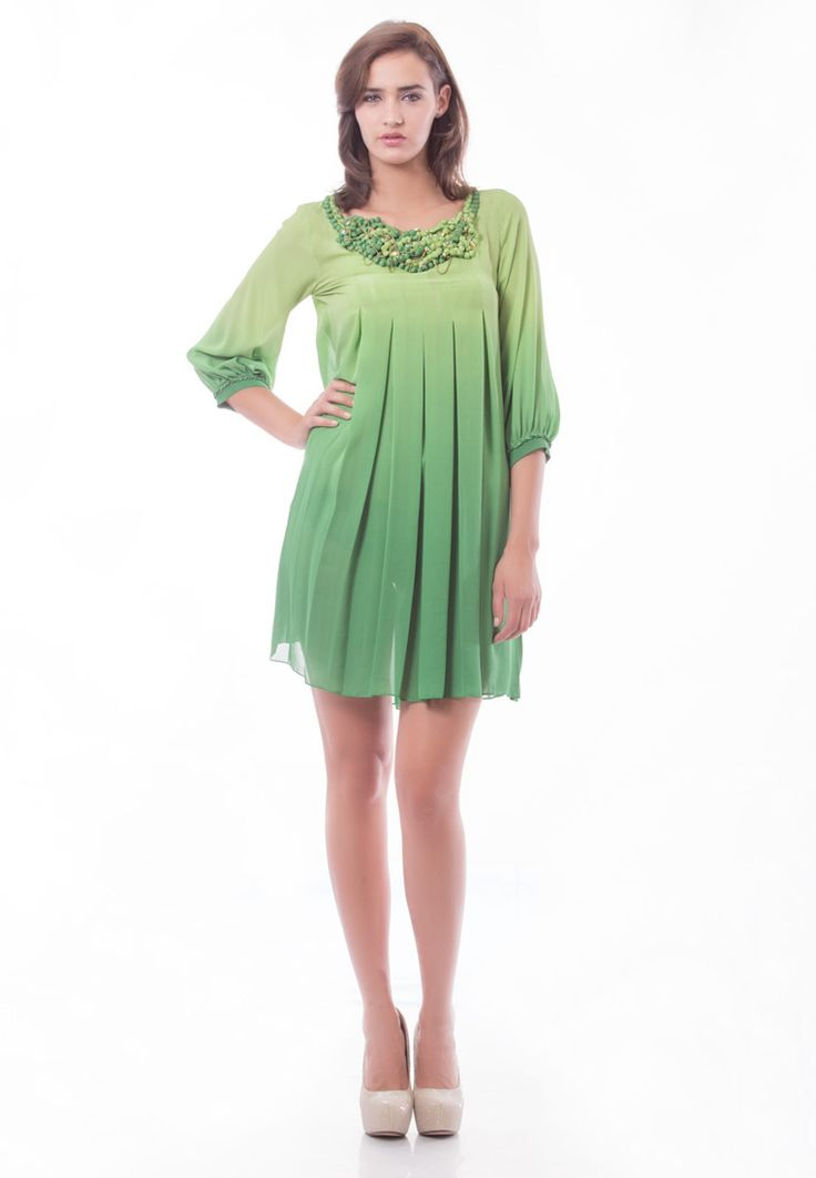 Ombre Green Tunic with Pret Detailing -> - Ombre Green Tunic - Round Neck with 3.0 Pearl Embroidery Neck - 3/4 Sleeves with Pret Detailing - Dry Clean  Order Now : http://www.rinkusobti.com/clothing/Ombre-Green-Tunic-with-Pret-Detailing