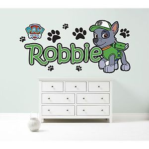 PAW PATROL ROCKY PERSONALISED WALL STICKER children's bedroom decal art graphic