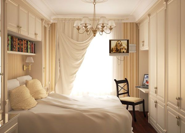 Enchanted Small Bedroom Ideas with Sophisticated Look for Modern People : Wonderful Small Bedroom Ideas White Interior Desk Closet Wardrobe