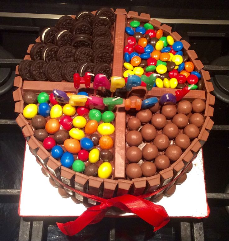 Butter cake with nutella then decorated with Kitkat oreos m&m's and maltesers. So yummy for chocolate lovers