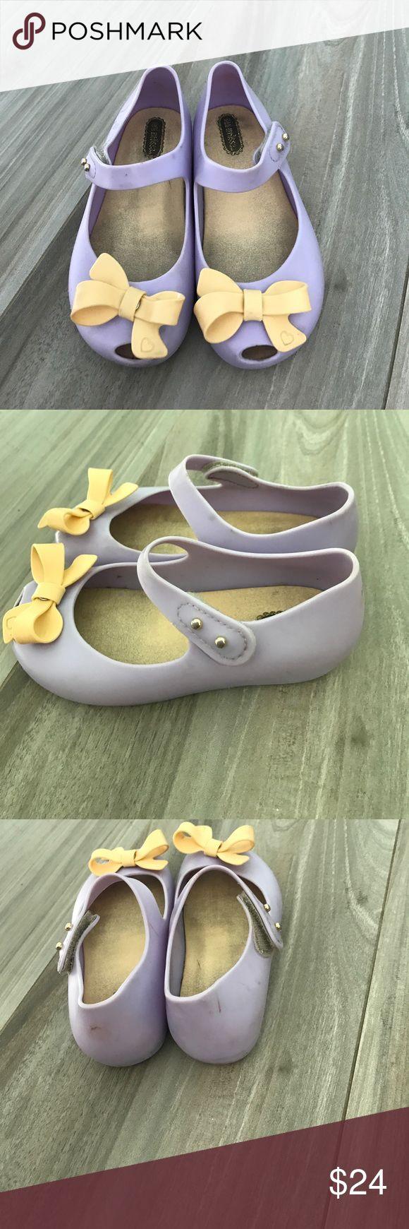 Mini Mellissa lilac shoes Used Mini Mellissa kid's shoes with orange bows Mini Melissa Shoes Sandals & Flip Flops