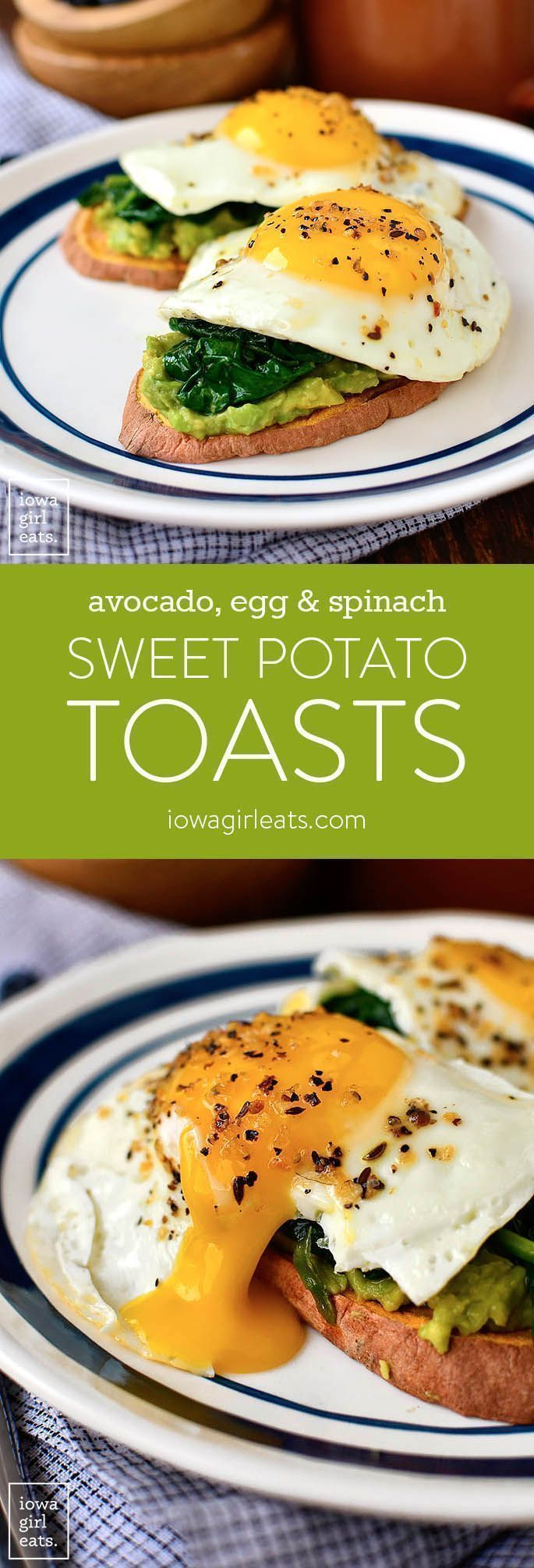 Avocado, Egg and Spinach Candy Potato Toasts