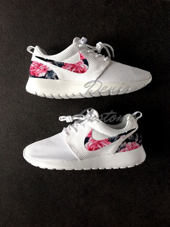 low priced 09a14 b50a7 Nike Roshe Womens White Custom Red Pink Floral Design Fabric
