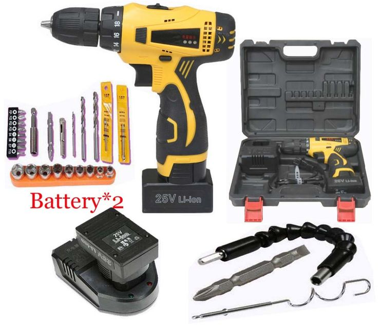 (115.78$)  Know more  - 25V Electric Drill Cordless Screwdriver Rechargeable Battery*2 Electric Screwdriver Parafusadeira Furadeira Tenwa Power Tools