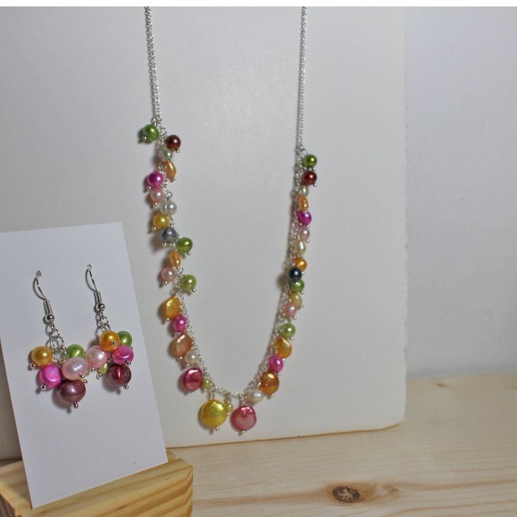 Jewelry - Set - Multi-color Freshwater Pearl Necklace Earring Set