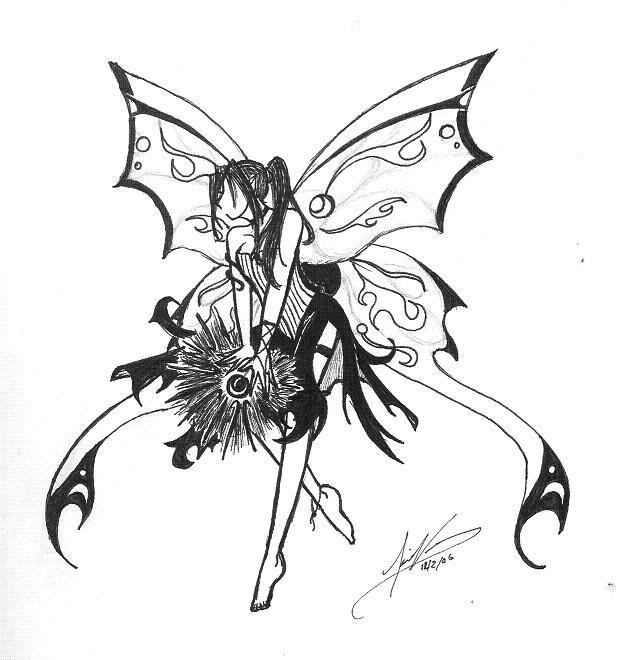 dark fantasy fairies coloring pages | Dark Fairy Coloring Pages | Elemental Dark Fairy *line art ...