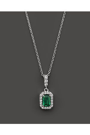 Women Necklaces – Emerald and Diamond Pendant Necklace in 14K Gold, 16