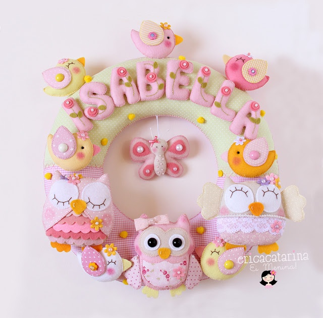 wreath with birds & butterflies & owls for Isabella, by Érica Catarina