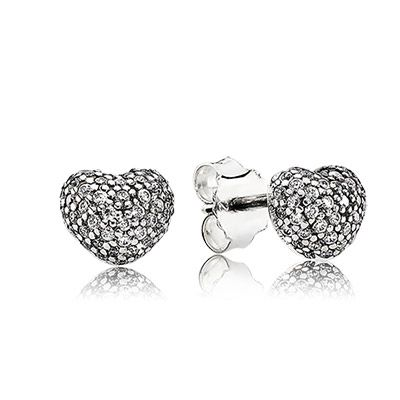 Cute sterling silver studs, In my heart, with clear cubic zirconia. $60 #pandora #pandorajewelry #pandorajewellery #silverjewelry #silverjewellery #sterlingsilver #silver #jewellery #jewelry #earrings #zirconia #studs
