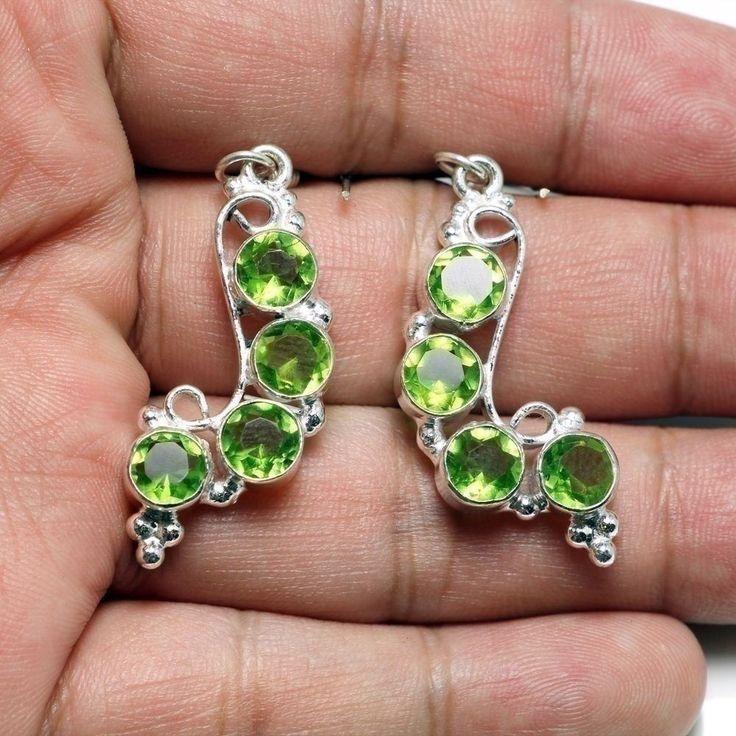 Women 44CT 925 Sterling Silver Green Topaz Gemstones Jewelry Drop Earrings