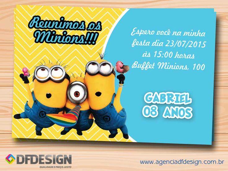 Convite de Aniversário Minions Grátis para imprimir.