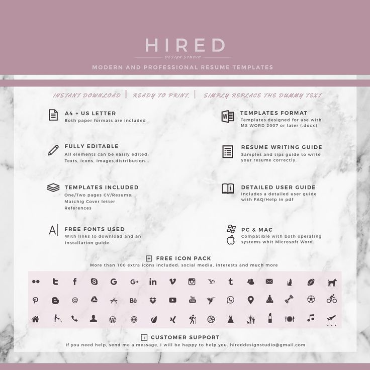 19 best Minimalist Resume \/ CV Templates images on Pinterest - free printable resume templates microsoft word