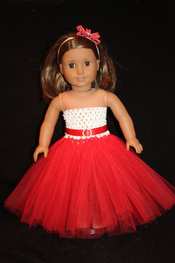 18in Doll Holiday Tutu Dress w Headband by littleladiesthings, $20.00
