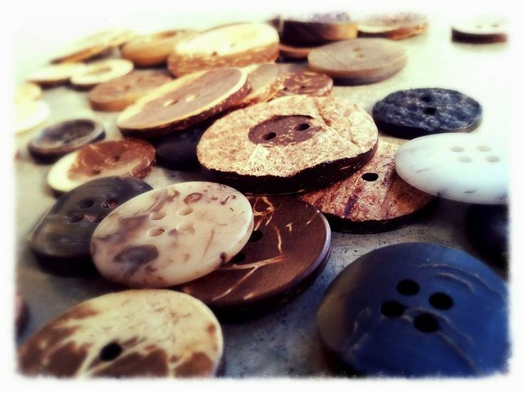 Choosing our buttons all made from natural materials!
