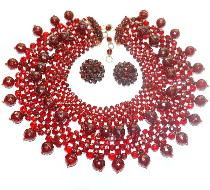 Signed Made in Italy, by Coppola e Toppo Superbly woven deep red crystal collar or bib necklace created by the famous brother and sister design duo