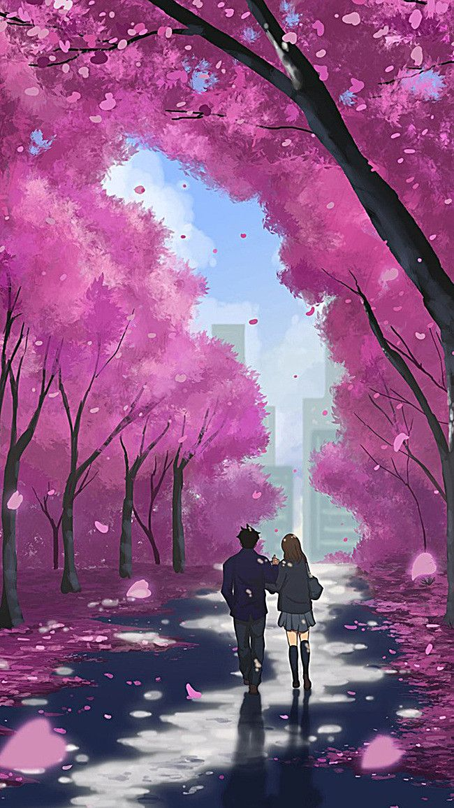 Couple Under The Cherry Blossom Background Illustration H5 Anime Scenery Wallpaper Anime Scenery Anime Cherry Blossom