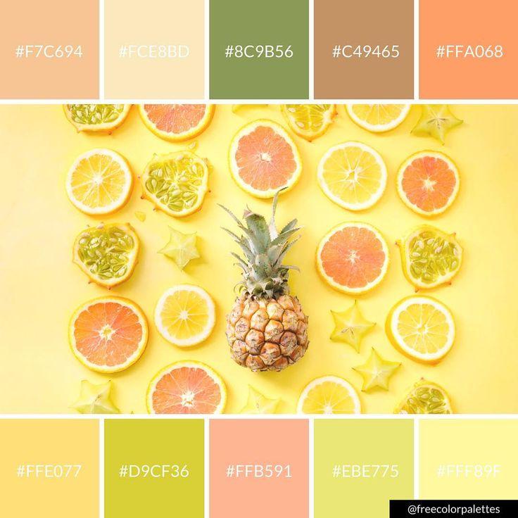 Fresh fruit citrus summer yellow color palette