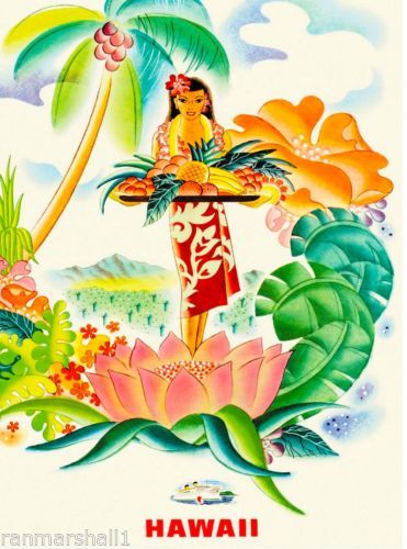 Hawaii Hawaiian Girl Fruit United States America Travel Advertisement  Poster  in Collectibles, Cultures & Ethnicities, Hawaiian, Prints, Posters & Paintings   eBay