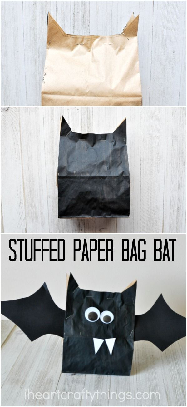 stuffed paper bag bat craft - Craft Halloween Decorations