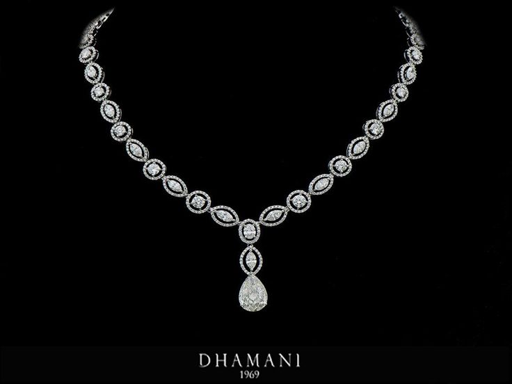 #Sparkling 18K White Gold #Diamond #Necklace weighing 35.58 Grams studded with 5.06 carats of Natural Pear Diamond HRD certified and 13.48 carats of Natural Marquise,Oval,Round Diamonds - AT Dhamani @The Dubai Mall #Dhamani1969 #luxury