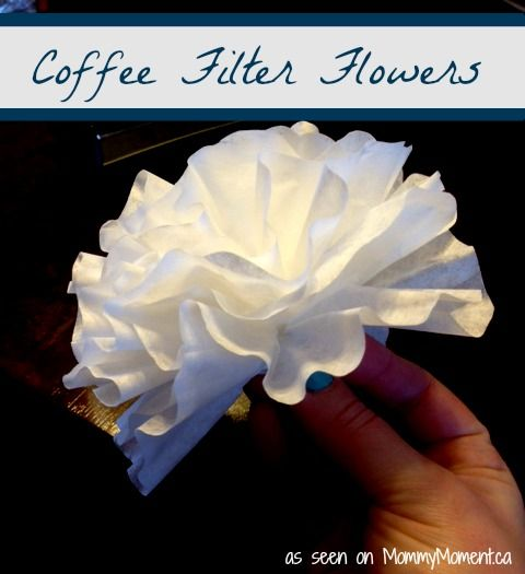 Make these beautiful coffee filter flowers with your school age children, or help your toddlers to make them.  What a fun idea for Spring...