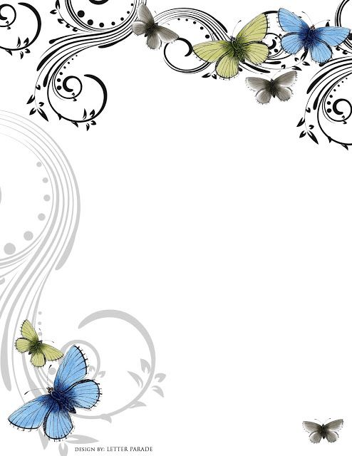"""June Butterflies"""" free print-at-home stationery."""