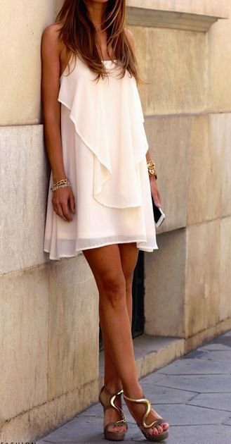 Just a Pretty Style: Street style off white fold dress and fantastic heels