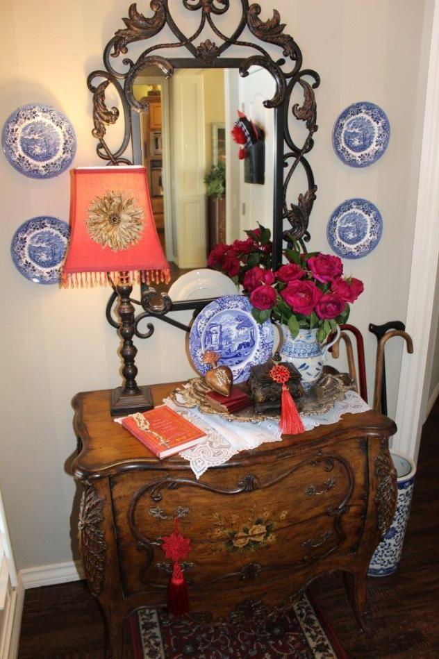 A Romantic Valentine Foyer - Belle Bleu Interiors