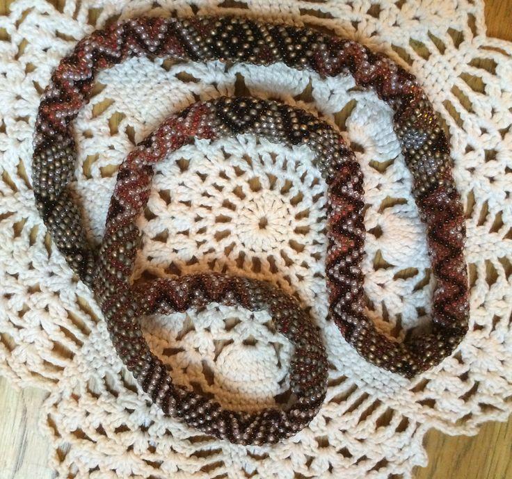 Snake necklace. Tubular peyote beading stitch.