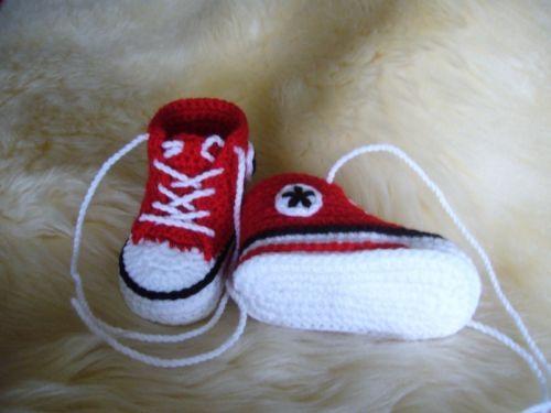 Babychucks Babyschuhe gehäkelt rot 4-8 Monate Sohle 10cm