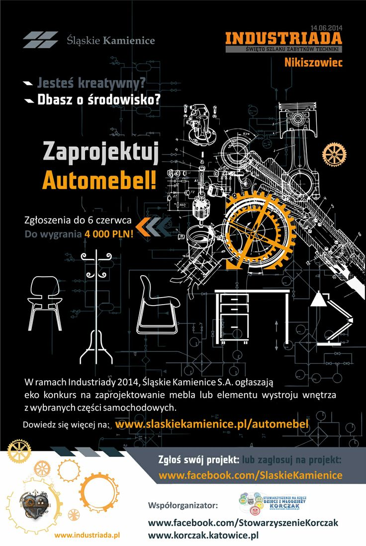 #Automebel, plakat konkursowy #car #furniture #slkamienice #industriada #competition #konkurs #eco #recykling #recycle #design