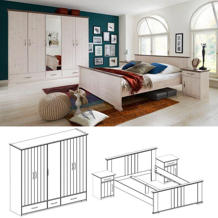 Schlafzimmer Set Hanstholm Kiefer massiv White Wash Stone - Schlafzimmer online günstig