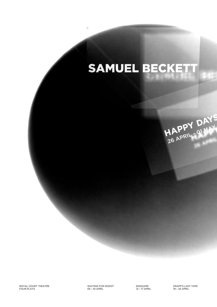 Happy Days! A series of four theatrical posters to announce a short season of Samuel Beckett plays at the Royal Court Theatre.