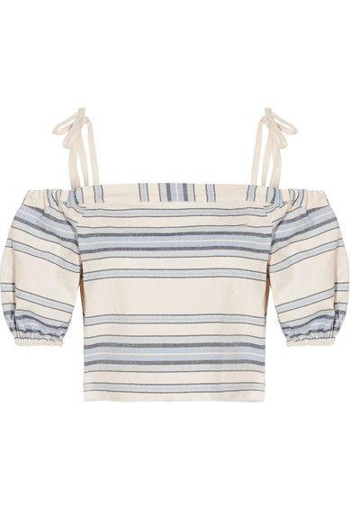 LemLem - Halima Off-the-shoulder Striped Cotton And Linen-blend Top - Sky blue - medium