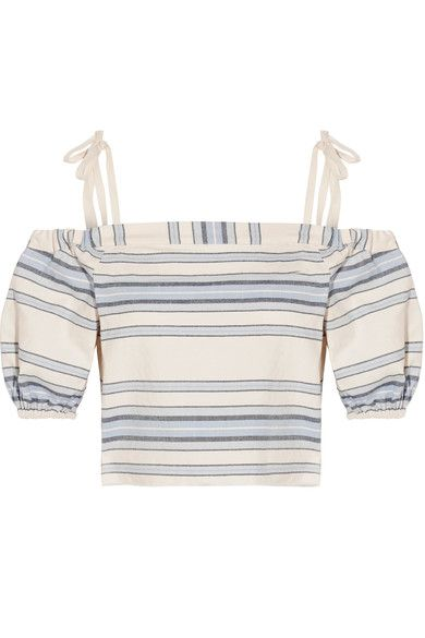 LemLem - Halima Off-the-shoulder Striped Cotton And Linen-blend Top - Sky blue - medium